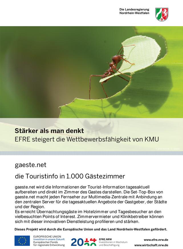 Plakat, EFRE-Projekt, gaeste.net